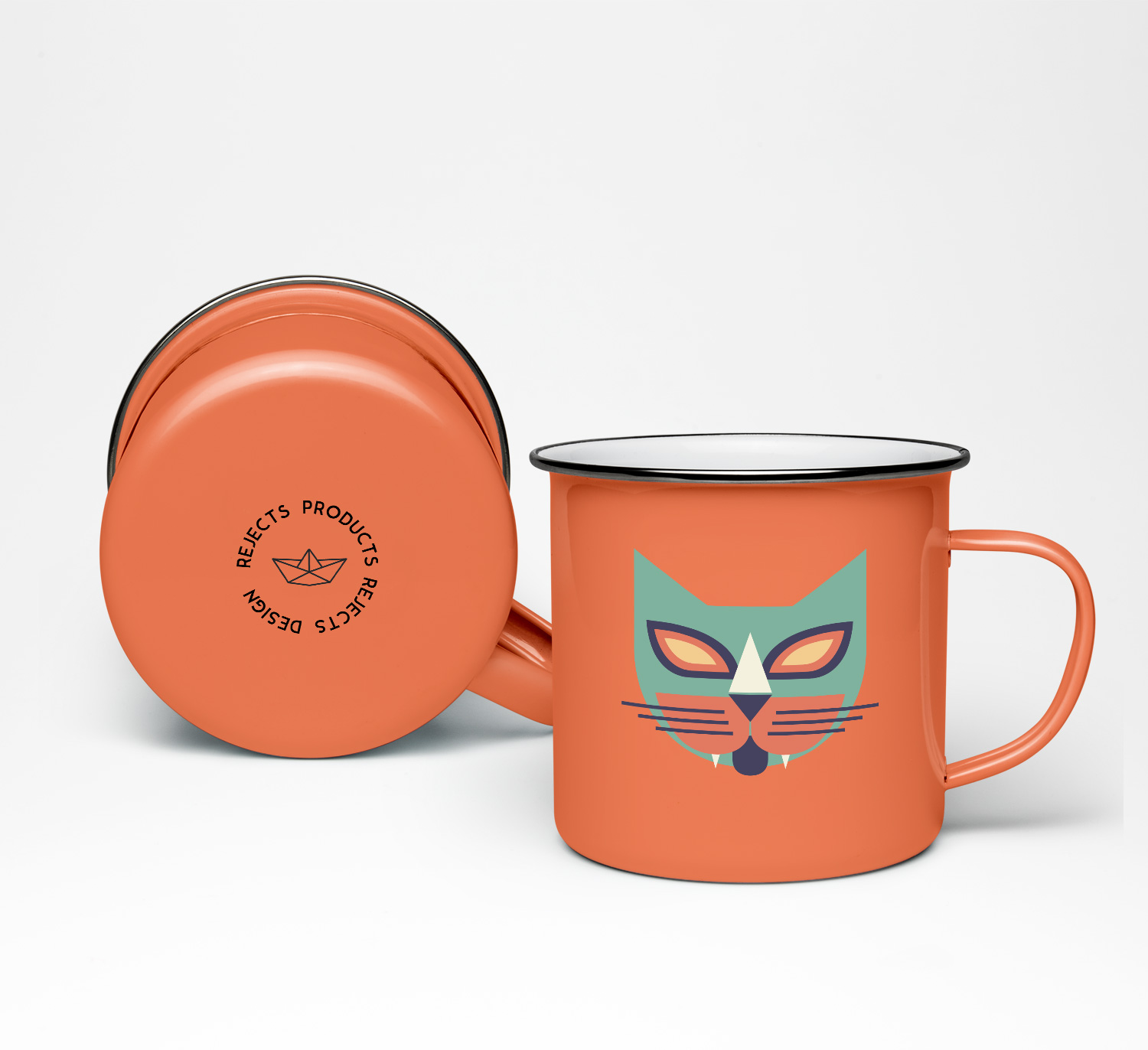 seventies cats mugs orange/green