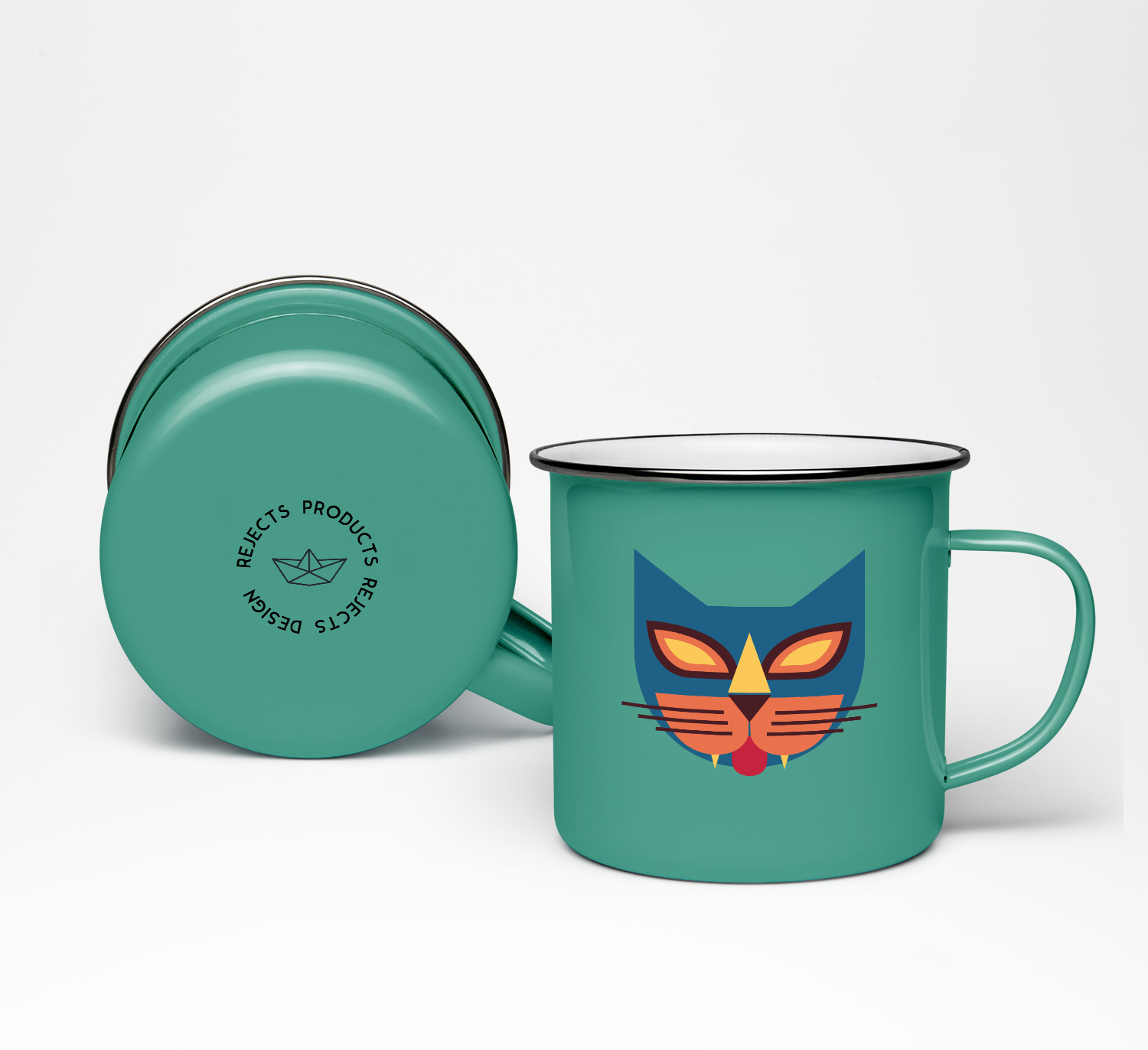 seventies cats mugs verde/blu